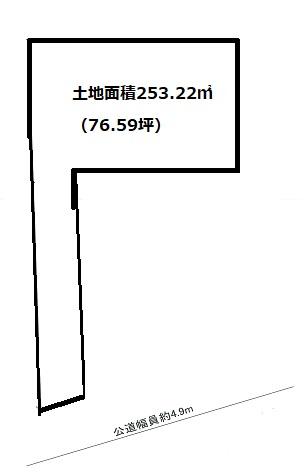土地面積253.22㎡、(約76.59坪)