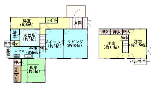 土地:272.45㎡、建物128.36㎡、4LDK