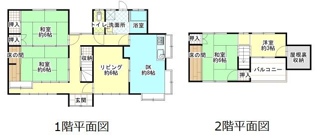 4LDK+屋根裏収納付の広々間取り!