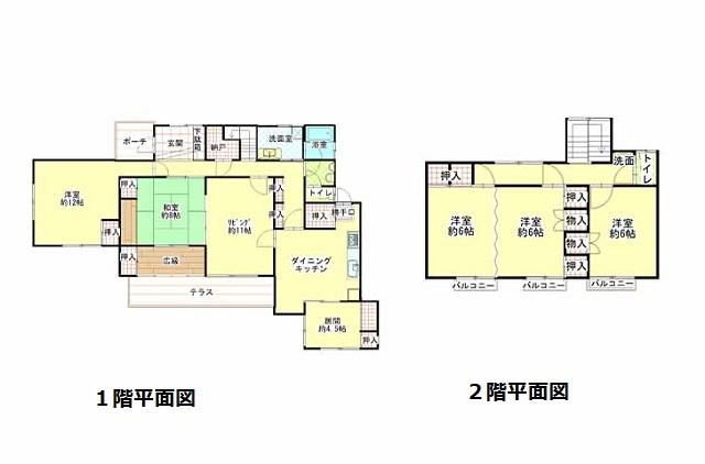 土地:534.87㎡(約161坪)、建物:194.61㎡(約58坪)、5SLDK