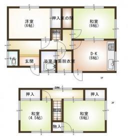 土地:125.04㎡(約37坪)、建物:74.27㎡(約22坪)、4DK
