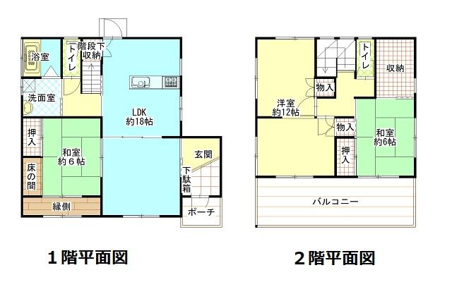 4SLDK、土地196.50㎡(59.44坪)、建物110.96㎡(46.37坪)