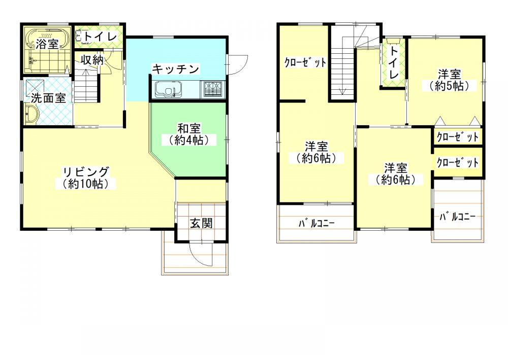 4SLDK、土地150.92㎡(45.65坪)、建物97.71㎡(29.55坪)